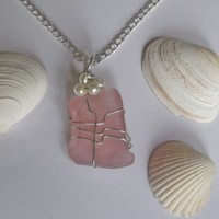 Pink Sea Glass Necklace with Pearls.