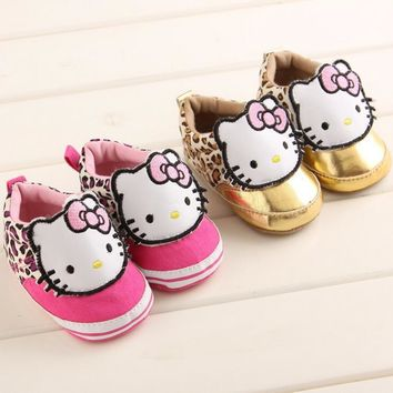TongYouYuan Baby Princess Girls Hello Kitty Cute Cartoon Anti-skid Sneakers Newborn Soft Soled 2017 Spring Babe Walkers Shoes