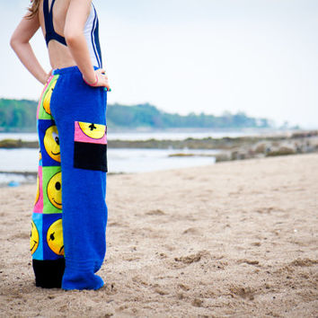 Towel Pants - Faces Royal Blue