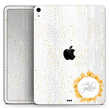 "Karamfila Yellow & Gray Floral V7 - Full Body Skin Decal for the Apple iPad Pro 12.9"", 11"", 10.5"", 9.7"", Air or Mini (All Models Available)"