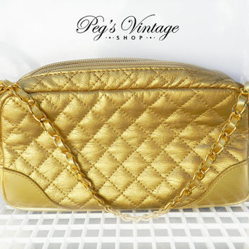 Vintage Metallic Gold Make Up Bag/Clutch Purse, Shiny Quilted Gold Vinyl Bag, Cosmetic/Perfume Purse With Handle