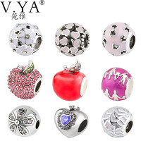 Mix Beads fit for Pandora Necklaces Bracelets Bangle DIY Charms with Crystal Woman Man Gift Loose Charm Bead