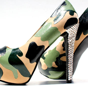Custom Camo Heels with Swarovski Crystals