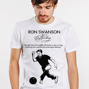 RON SWANSON funny bowling figure skating Quote Mens t Tee Shirt parks gift manly mustache sign eggs bacon meat wood prop fan and show NEW