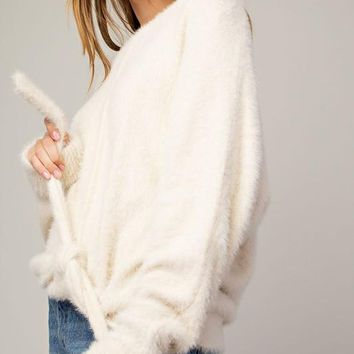Fluffy Sweater in Cream