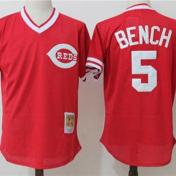 ONETOW Men's Cincinnati Reds Johnny Bench Mitchell & Ness Red 1983 Authentic Cooperstown Collection Mesh Batting Practice Jersey