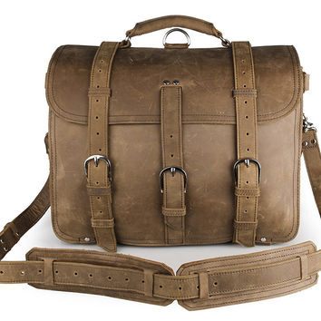 Brown Crazy Horse Leather Large Men's Briefcase Backpack Travel Bag