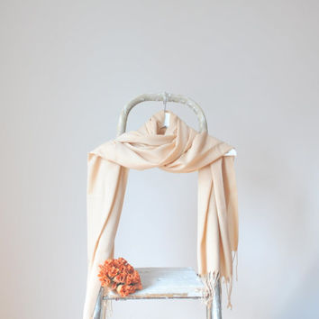 Peach Shawl, Pastel Peach Wrap, Wedding Shawl, Solid Color Cotton Scarf, Bridal Shawl, Bridesmaids Gift, Soft Lightweight Fine Pashmina