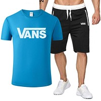 Vans Fashion New Letter Print Sports Leisure Top And Shorts Two Piece Suit Men Blue