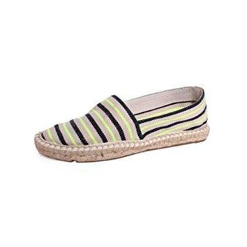 Tory Burch Striped Canvas Espadrilles Fluo Yellow/tory Navy/natural