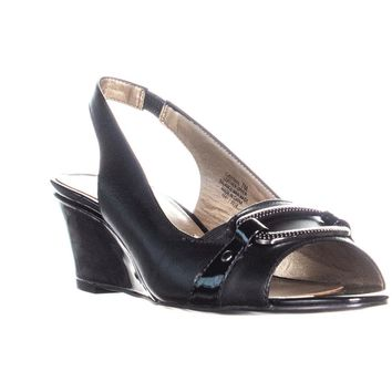 Circa Joan & David Sydnie Wedge Slingback Sandals, Black/Black, 7 US