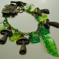 Magical Forest Woodland Nature Green Leaves & Mushrooms Charm Bracelet