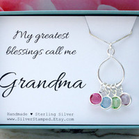 Grandma necklace Christmas gift for grandmother sterling silver Swarovski birthstone necklace infinity necklace Christmas gift
