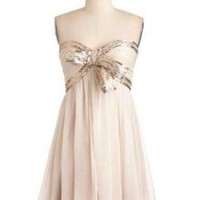 Ivory Strapless Bow Front Dress with Sequin & Bead Detail