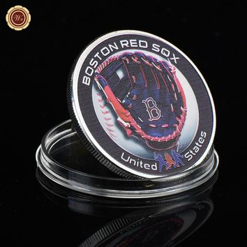 WR american silver coin 999.9 silver plated MLB Boston Red Sox metal coins souvenir gifts quality metal crafts with plastic case
