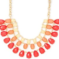 Opaque Oval and Teardrop Crystals Multi-Strand Statement Necklace | Icing