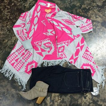 Pink and Grey Cardi