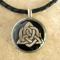 celtic sister knot necklace: black - celtic heart - triquetra necklace - celtic jewelry - irish jewelry - endless knot - trinity knot
