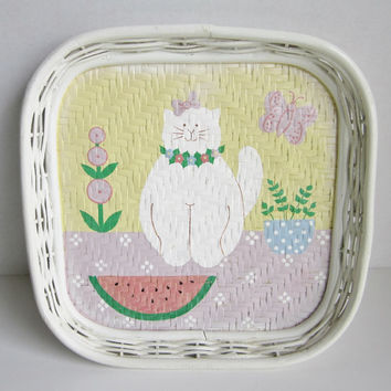 White Wicker Painted Tray