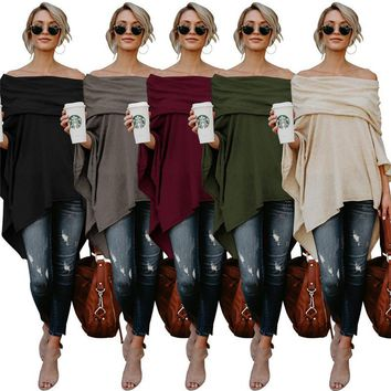Women Slash Neck Long Sleeve T Shirts Irregular Designs Pullovers Fashion Cloak Style Solid Tops for Spring and Autumn