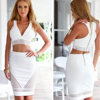 New 2015 Women White 2 Piece Bandage Bodycon Dress Celebrity Sexy Clubwear patchwork mini Dresses Sexy Club dresses vestidos