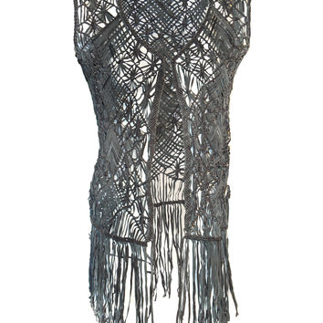 Designed Leather Macrame Weaved Women Gilet with Fringes