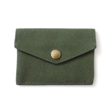 Minimalist Canvas Wallet Slim Snap Wallet Green