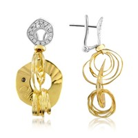 Orlando Orlandini Designer Earrings Fashion - Diamond 18K Two-tone Gold Drop Earrings
