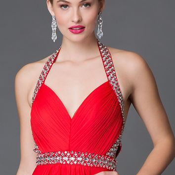Red Floor Length Halter Prom Dress with Jewel Detailing by Sequin Hearts