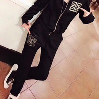 ONETOW Givenchy' Women Casual Fashion Hot Fix Rhinestone Letter Pattern Long Sleeve Zip Cardigan Trousers Set Two-Piece Sportswear
