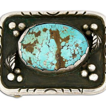 1960's VTG Old Navajo Turquoise .925 Sterling Silver Belt Buckle