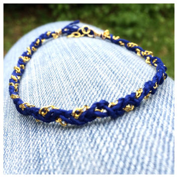 Braided Gold Chain and Navy Cord Ankle Bracelet