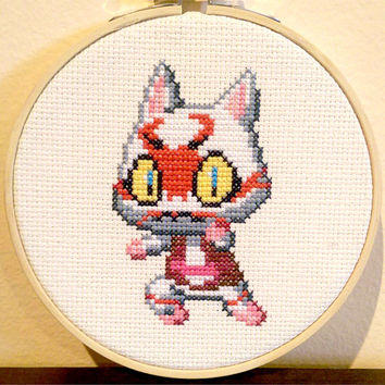 Animal Crossing - framed Kabuki cross stitch