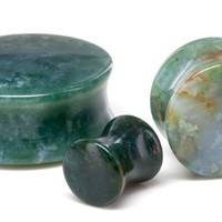 """Pair Green India Agate Stone Plugs 25mm - 1"""""""