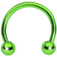 14 Gauge Green Titanium Horseshoe Circular Barbell 3/8 | Body Candy Body Jewelry