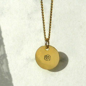 Hand Stamped Gold Plated Necklace, Tiny Necklace, Round Spiral Design Charm, Hand Stamped Jewelry, Small Pendant Gold Plated, Artida