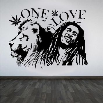 """Wall Stickers Bob Marley Lion Zion """"ONE LOVE"""" Marijuana Quote Wall Art Sticker Decal Mural Removable Vinyl Waterproof Mural"""