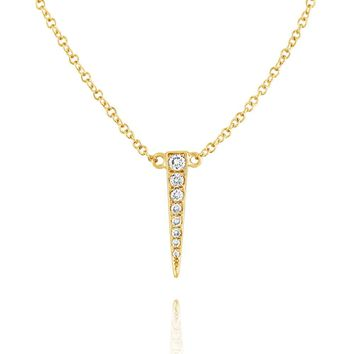 Small Diamond Dagger Necklace Yellow Gold