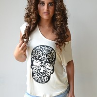 Piace Boutique - Skull Patch Top in Tops