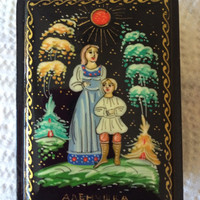 "Original Russian Palekh hand painted lacquer box ""Helen and her brother John""signed by artist item papier mache, egg tempera, lacquer box"