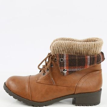 Soda Plaid Fold Over Ankle Boots