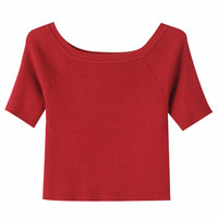 Short Sleeves Boat Neck Knitted Cropped Top