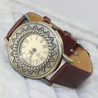 KANO BAK Roman Number Quartz Vintage Leather Wrap Bracelet Wrist Watch Fashion Women Ladies Wristwatch Gift Brown