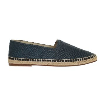 Dolce & Gabbana Blue Leather Woven Loafers Espadrilles