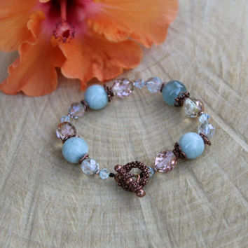 Aquamarine Bracelet, Aquamarine Stretch Bracelet, Blue Gemstone Bracelet, March Birthstone, March Birthday, Gift for Her, Gift for Mom