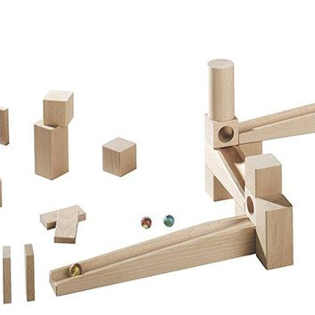 HABA Ball Track Starter Set - 44 Piece Wooden Marble Run for Beginner to Expert