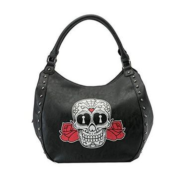 Rock Rebel Sugar Skull Hobo Purse