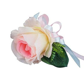Wrist Corsage - Baby Pink Rose with Shades of White