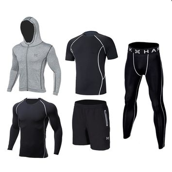 2017 Quick Dry Men Compression Base Layer Sports Running Sets Basketball Tights Clothes Tennis Gym Fitness Jogging Sportswear