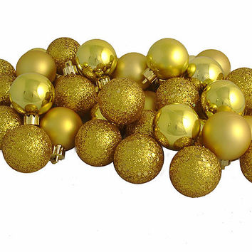 "18ct Antique Gold 4-Finish Shatterproof Christmas Ball Ornaments 1.25"" (30mm)"